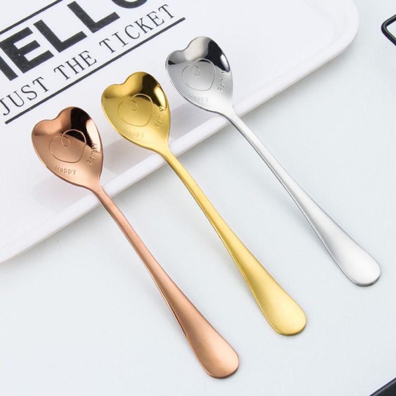 Stainless Steel Heart Shaped Coffee Spoon Dessert Teaspoon Stirring Tool YS