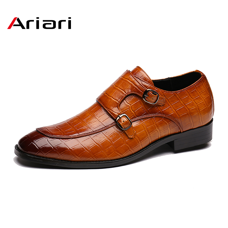 Men's Brand Leather Formal Shoes Dress Shoes Oxfords Fashion Retro Shoes Elegant Work Pointed Toe Casual Footwear Drop Shipping