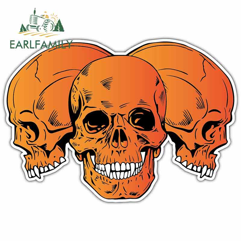 EARLFAMILY 13cm X 9.1cm For Orange Skulls Devil Hell Cartoon Oem Car Stickers Helmet Motorcycle Sunscreen Vinyl JDM Graphics