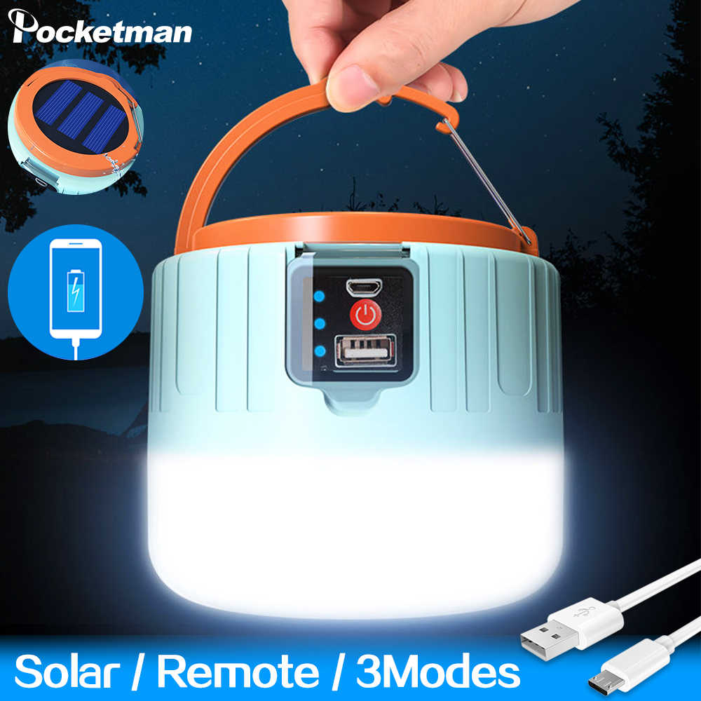Solar LED Camping Light USB Rechargeable Bulb For Outdoor Tent Lamp Portable