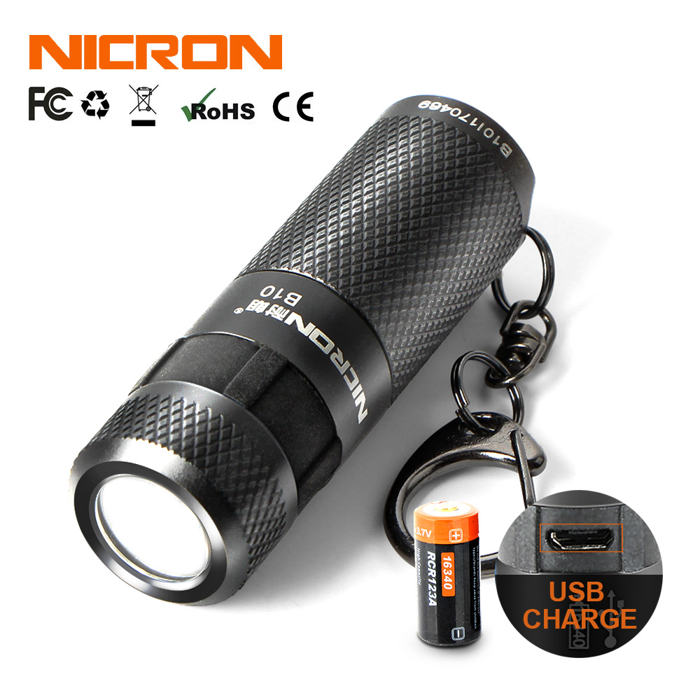NICRON Mini LED Flashlight B10 Waterproof IP4X USB Rechargeable Li-ion Battery Keychain Torch Light For Outdoor Lighting