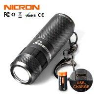 Nicron mini lanterna led b10 à prova dipágua ip4x usb recarregável li-ion bateria chaveiro tocha luz para iluminação ao ar livre