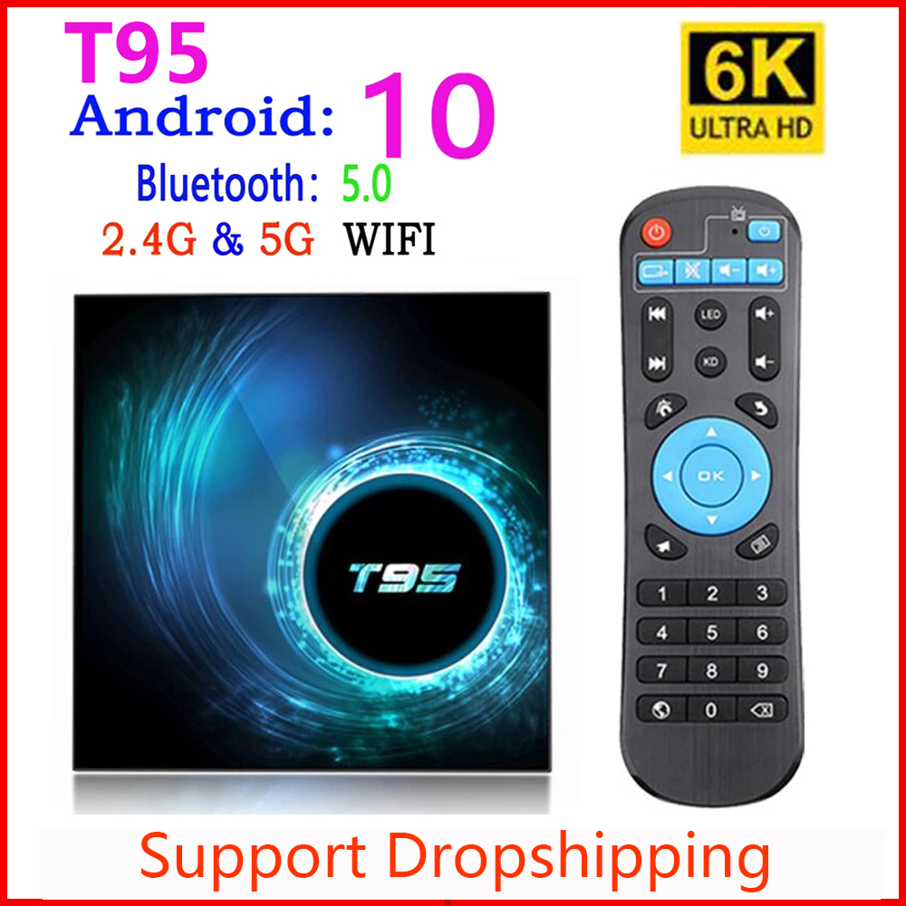 2020 Latest T95 Smart Tv Box Android 10 4k 6k 4g 32gb 64gb 2.4g & 5g Wifi Quad Core Set-top Box Media Player PK X96 H96 MAX Plus