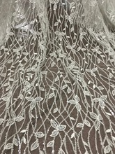 High grade tulle lace SYJ 53121 African French net lace fabric with full tube beads embroidery lace