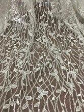 Wysokiej jakości tiulowa koronka SYJ 0 afrykańska francuska koronka siatkowa z pełną tubką hafty z koralików