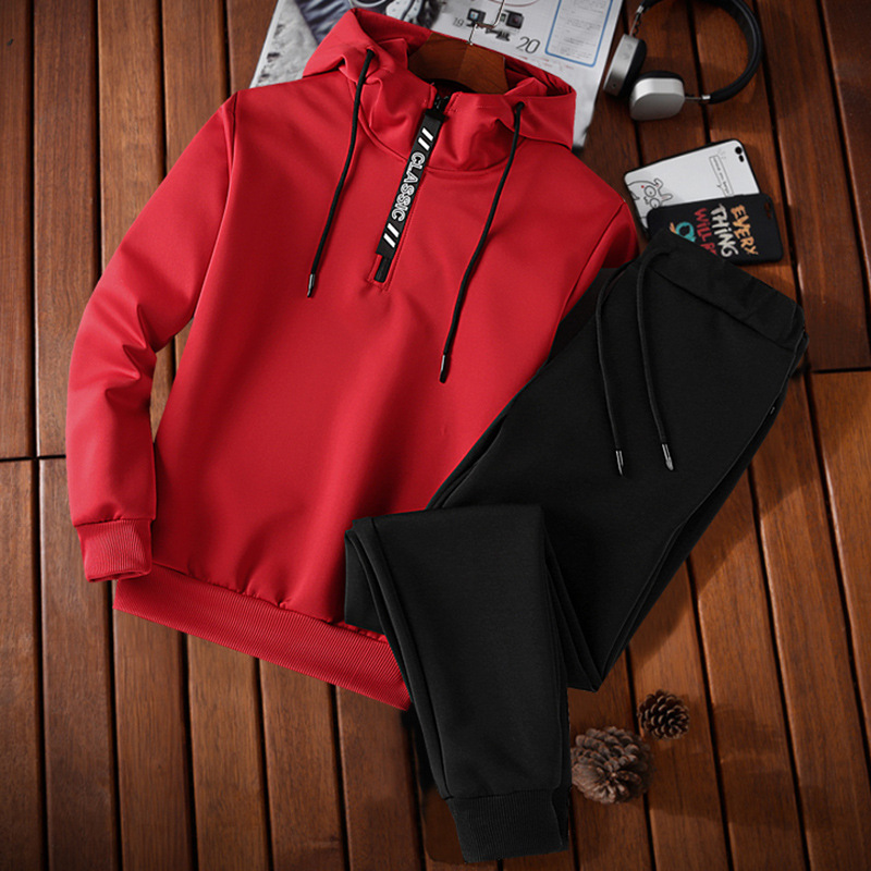 2018 MEN'S Sweater Set Spring And Autumn New Style Pullover MEN'S Wear Two-Piece Hooded Clothes Casual Sports Spring And Autumn