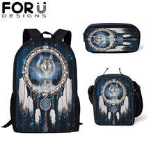 FORUDESIGNS 3Pcs Wolf School Bags Set for Kids Girls Backpacks Boys Shoulder Bagpack Children Bookbag Satchel Daypack