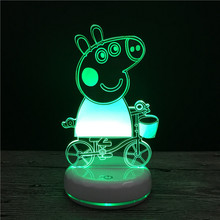Peppa Pig Little Girl Toy Lights Led Night Baby Feeding Charging Lines Energy Saving Lamps Gifts for Kids