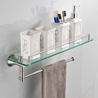 Bathroom shelves Stainless Stee With Tempered Glass Bathroom Accessories Bathroom Shelf Wall mounted Shelves DG8414SN