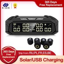 E ACE K10 güneş TPMS araba lastik basınç alarmı monitör sistemi lastik sıcaklık dijital ekran oto güvenlik Alarm sistemleri 6 sensörleri ile