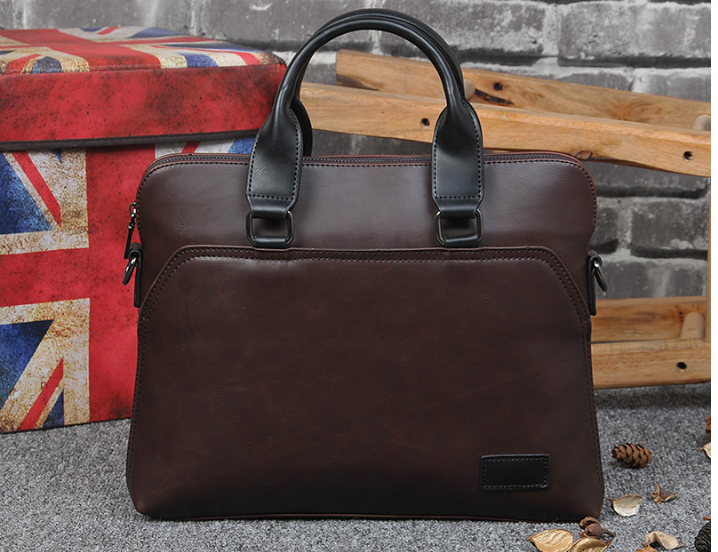 Simple Elegant Men Leather Briefcase Fashion Casual Crossbody Shoulder Bag Men's Designer Laptop Handbag Bolso Hombre DF363