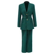 Autumn Same Green Plaid Suit Fashion Straight Tube Trousers Profession Notched  Women Clothing Jackets and Coats
