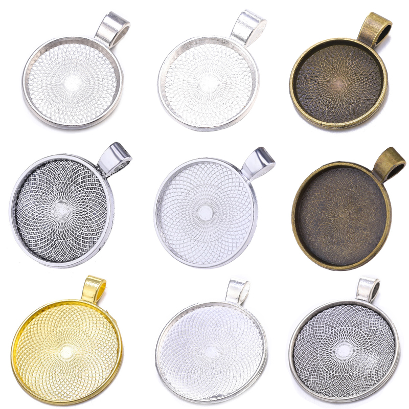 10pcs/lot 20/25/30mm Cabochon Base Pendant Setting Trays For Women Pendant DIY Blank Bezels Jewelry Making Handmade Accessories