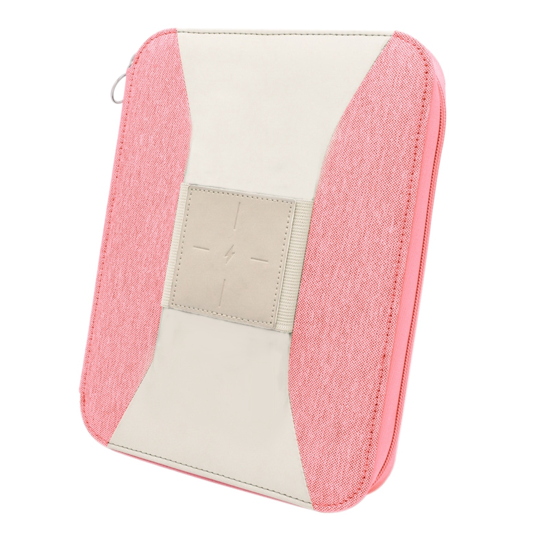 Vegan Leather Wireless Battery Charger Notebook Bag with Notebook for Business IPad/Table and Interview Organizer Folder