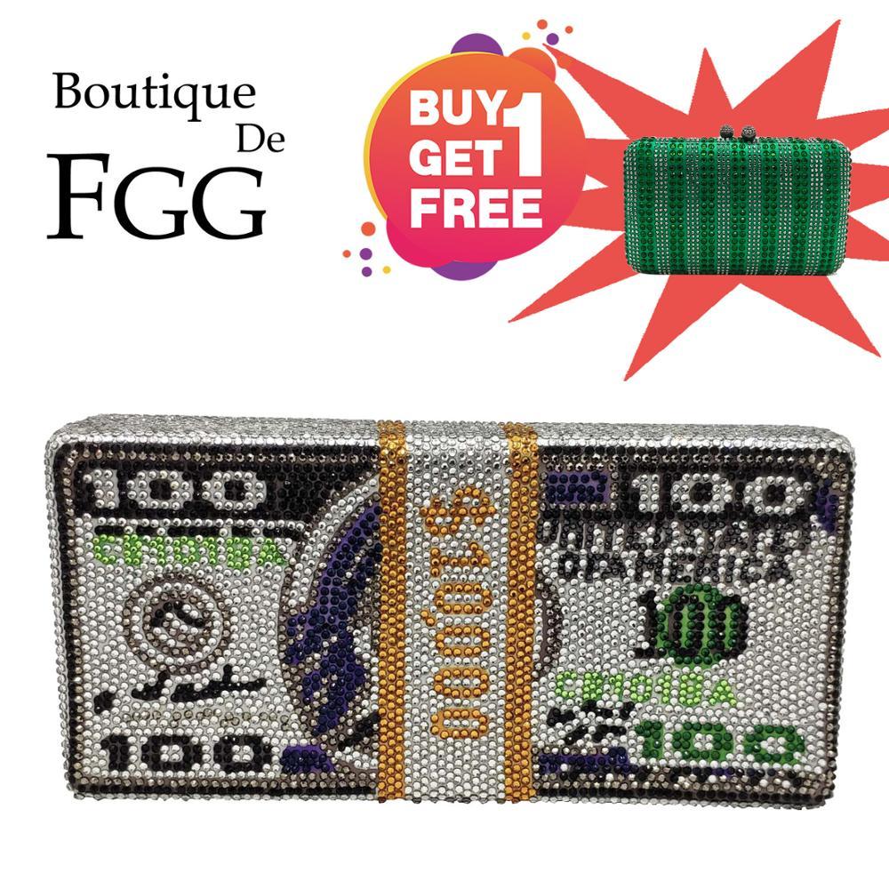 Boutique De FGG Stack Of Cash Hot-Fixed Crystals Women Money Evening Clutch Bags Diamond Wedding Dinner Purses And Handbags
