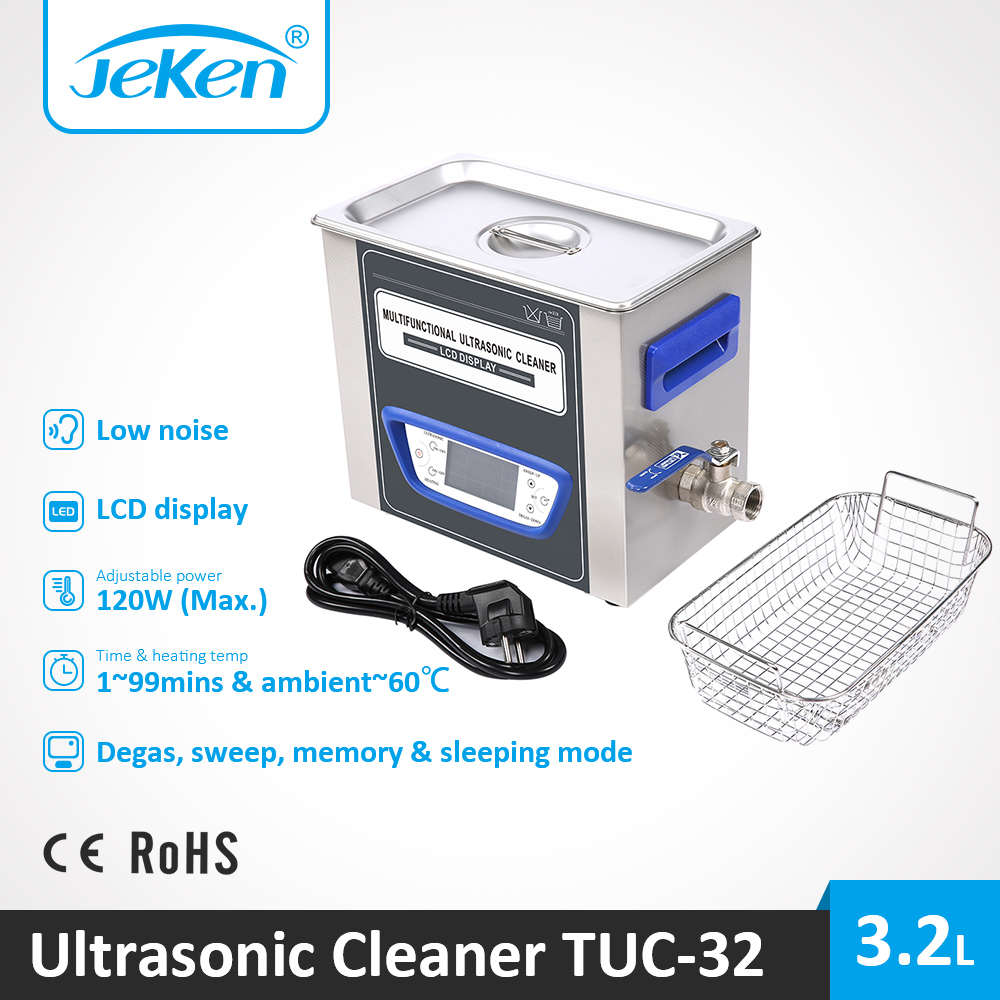 3.2L Industrial Ultrasonic Cleaner Low Noise Ultra Sonic Dental Cleaning Device For Lab Pharma Clinic Hospital Instrument TUC-32