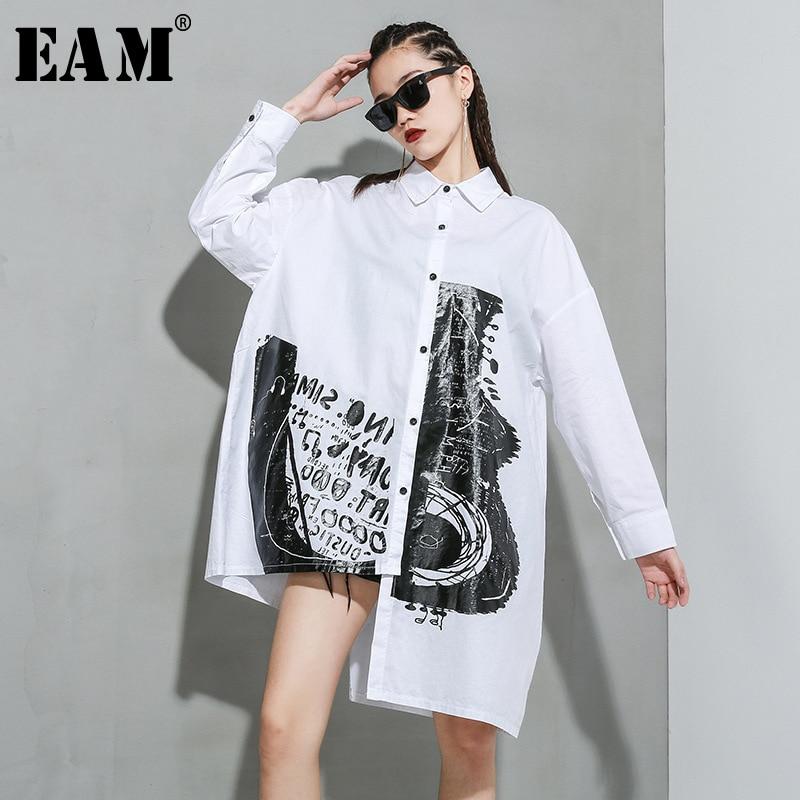 [EAM] Women White Pattern Printed Big Size Long Blouse New Lapel Long Sleeve Loose Fit Shirt Fashion Spring Autumn 2020 1R933