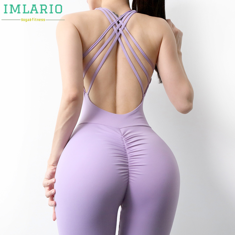 Imlario Scrunch Butt Workout Jumpsuits One Piece Long Sport Yoga Set V Cut Back Gym Tank Top Women Bra Padded Fitness Activewear