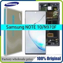 شاشة AMOLED LCD تعمل باللمس مع شاسيه ، 6.3 بوصة ، لهاتف Samsung Galaxy Note 10 N970F Note 10 N970 N9700 ، أصلي