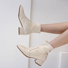 Fashion Women Chelsea Ankle Boots Female Genuine Leather Square Heeled AJ629