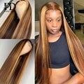Парики из натуральных волос без клея на кружеве, прямые, окрашенные в Омбре, предварительно выщипанные бразильские волосы Remy, парики для чер...