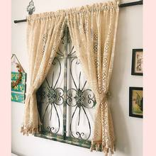 Nordic pastoral crochet weaving lace window curtain 100%cotton thread partition curtain living room curtain free shipping LQ(China)