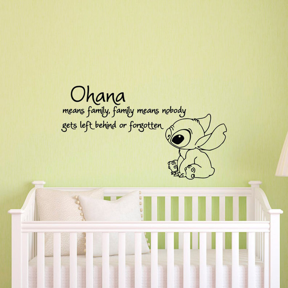 Ohana Means Family Means Nobody Get Left Behind or Forgotten Wall Decal Vinyl Sticker Wall Decals Nursery Kids Bedroom C080 image