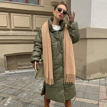 AGong Casual Khaki Windproof Parkas Women Fashion Winter PU Leather Coats Women Elegant Long Cotton Jackets Female Ladies HZ