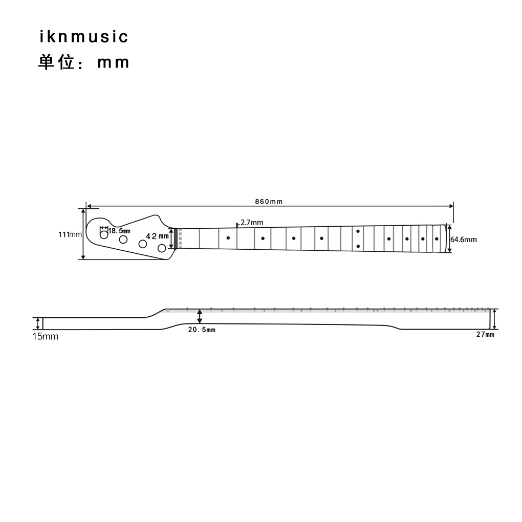 FLEOR 1 шт. 21 лада Бас шеи клен гриф блеск сатин для PB JB бас гитары шеи части замены - 2