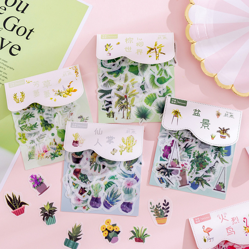 40 Pcs/Pack Cute Cactus Label Kawaii Diary Handmade Adhesive Paper Flake Japan Sticker Scrapbooking Stationery Stationery