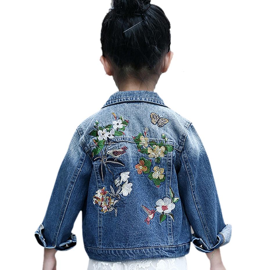 Girls Denim Jackets Coats Long Sleeves Flower Embroidery Denim Jacket Spring Fall Children Outwear Kids Denim Coat 6 8 10 12 14
