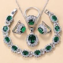 Collar de plata de ley 925 y pendientes conjuntos de joyas para mujer accesorios de moda Zircon verde encanto pulsera y anillo conjuntos