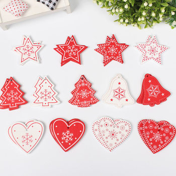 100Pcs/Lot New Year Natural Wood Christmas Ornaments Pendant Wood Hanging Gifts Snowflakes Xmas Tree Decor Home Decorations U3 image