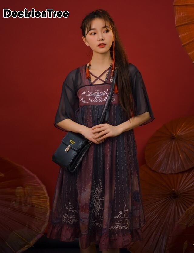 2020 Hanfu Costume Dress Women Improved Hanfu Daily Short Sleeve Hanfu Embroidered Crossdresses Costumes Asian Dress