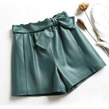 Women Harajuku Genuine Leather Shorts Femme Elastic High Waist Bowknot Green/Black Casual Short Mujer Wide Leg Streetwear