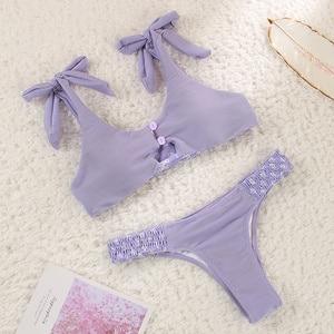 Image 3 - stripe biquini solid swimsuit women bathing suit bandage bikini set high cut bqiuinis feminino 2020 high cut bikini hollow out