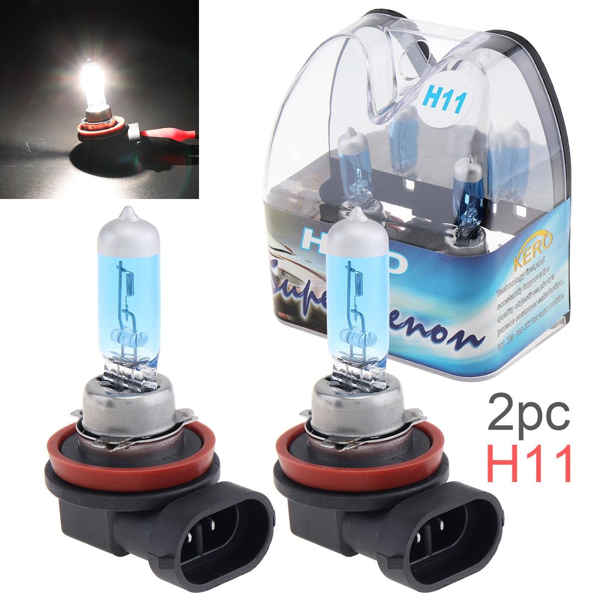 2 pces 12 v h11 55 w 6000 k luz branca super brilhante lâmpada de halogênio do carro farol da frente do automóvel farol de nevoeiro para carros