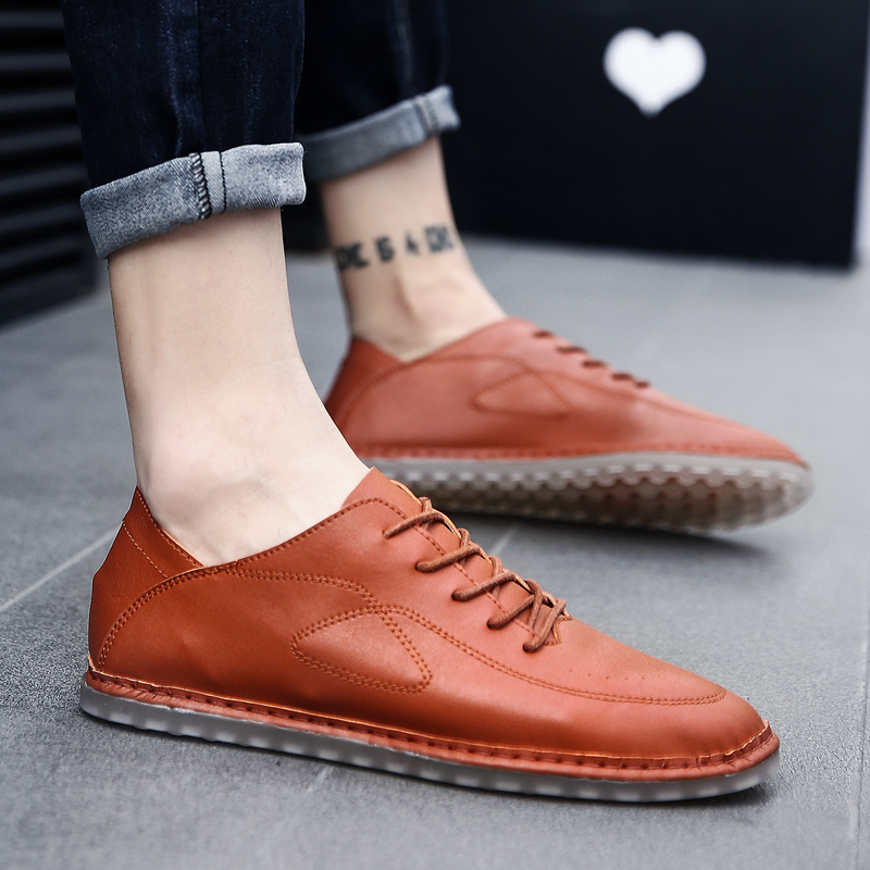 Large size 38-47 fashion Leather Men Casual Shoes Brand Mens Loafers Moccasins Breathable Slip On Lace Up Driving Shoes w5