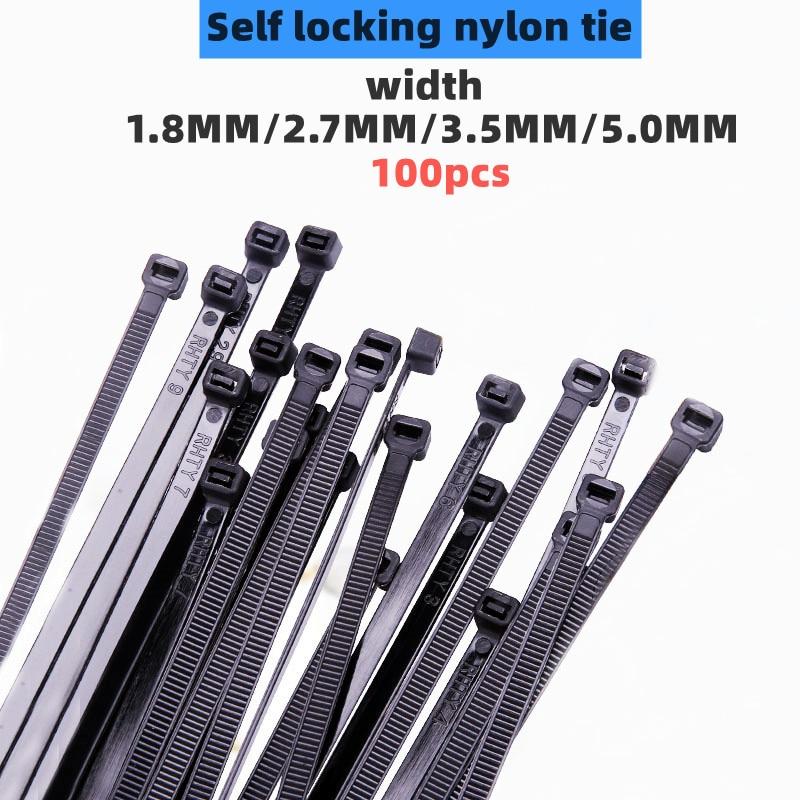 100 шт. 1,8 мм x 60/80/100/120/150/200 мм 2,7 мм x 150/200/250/300 черные кабельные стяжки, самоблокирующиеся Нейлоновые кабельные стяжки