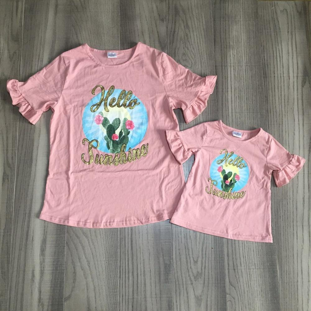 Mommy And Daughter Clothes Girls Summer T-shirts Girls Coral Shirt With Cactus Print Mommy Me Shirts