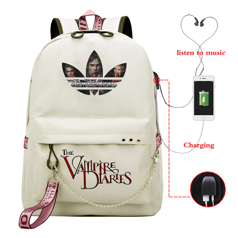 The Vampire Diaries School Bags For Teenage Girls Backpack Bag  Women High Student SchoolBag Bagpack Usb Cable Bookbag Sac A Dos