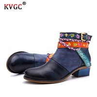 KVGC 2020 New Genuine cowhide Leather Girls Boots fashion high quality Vintage Ankle Boots elegant Zipper All match Women Shoes