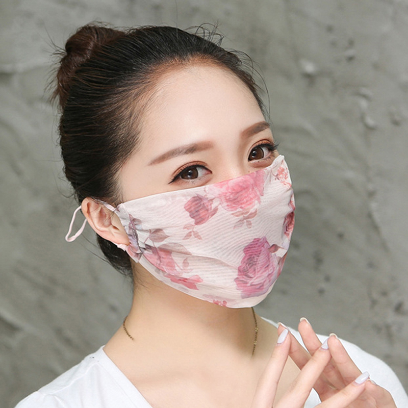 Spring Ladies Masks Comfortable Lace Breathable Masks High Quality Sun Protection Dust Masks Chiffon Masks For Women Polyester