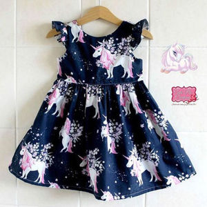 Toddler Children Little Girls Dresses Kids Baby Girl Floral Unicorn Printed Casual A-line Christmas Princess Dress Clothes(China)