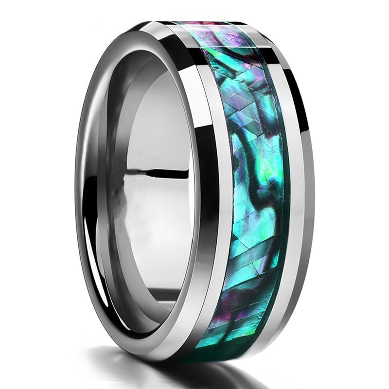 Wood-Inlay-Titanium-Steel-Rings-For-Men-8-mm-Abalone-Shell-Tungsten-Carbide-Ring-Fashion-Male (3)