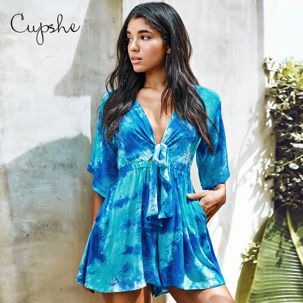 CUPSHE Blue Tie-Dye Front-Tie Romper Woman Sexy V-neck Short Jumpsuit 2019 New Elegant Overalls Summer Beach Female Streetwears