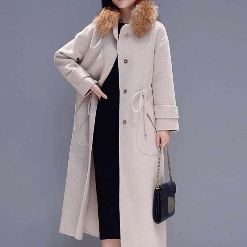 Marke Elegante Woolen Mantel Weibliche Herbst Winter Einreiher Pelz Kragen Slim Mantel Runway Büro Lange Jacke Frauen M-2XL