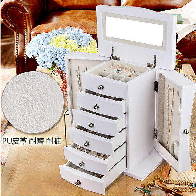 Jewelry Box Vintage 7 Drawers Armoire With Mirror Extra Large Chest Necklaces Storage Organizer Casket