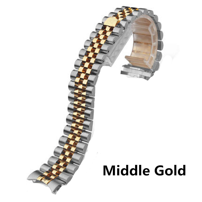 Image 3 - Men Women 13mm 17mm 20mm Brands Silver Gold Stainless steel WatchBands Strap Replace For DATEJUST ROLE Watch Wristband BraceletWatchbands   -