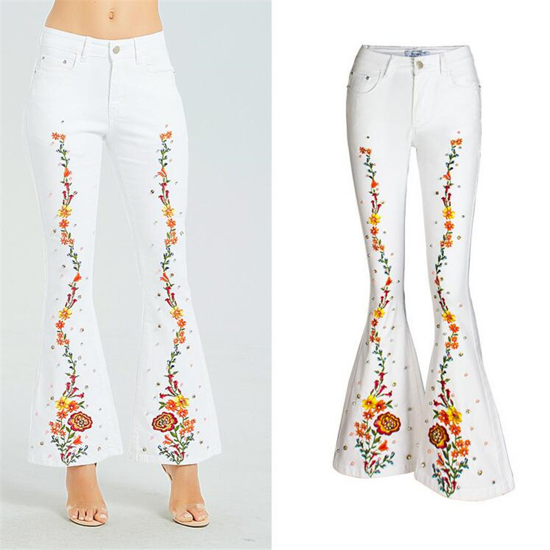 white Spring European American embroidery Women Flares Jeans Plus Size Stretch Button Beaded Jeans Casual Denim Pants Trousers